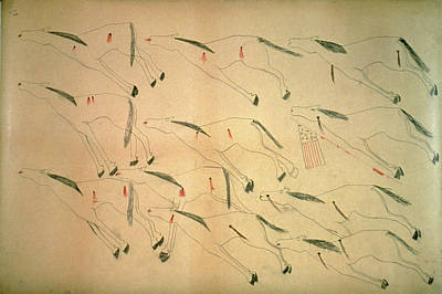 Pictograph Painting - Little Bighorn, 1876 by Granger