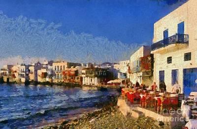 Sundown Painting - Little Venice In Mykonos Island by George Atsametakis