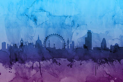 City Wall Art - Digital Art - London England Skyline by Michael Tompsett