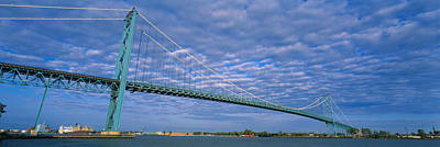 Low Angle View Of A Suspension Bridge Art Print