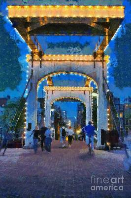 Amsterdam Painting - Magere Brug Bridge In Amsterdam by George Atsametakis