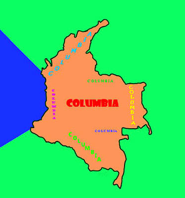 Royalty-Free and Rights-Managed Images - Map of Columbia by Bruce Nutting