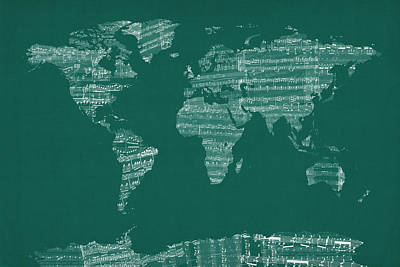 World Map Poster Digital Art - Map Of The World Map From Old Sheet Music by Michael Tompsett
