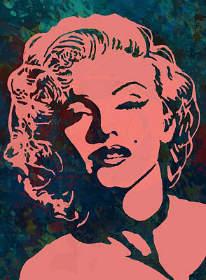 Marilyn Monroe Drawing - Marilyn Monroe Stylised Pop Art Drawing Sketch Poster by Kim Wang