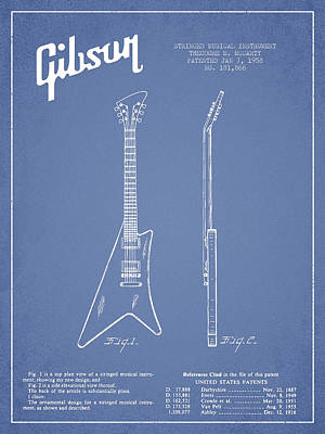 Bass Digital Art - Mccarty Gibson Stringed Instrument Patent Drawing From 1958 - Light Blue by Aged Pixel