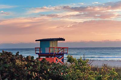Photograph - Miami South Beach Sunrise  by Songquan Deng