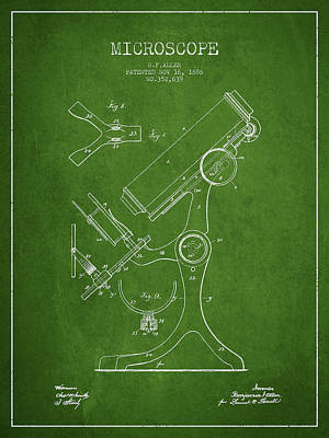Microscope Patent Drawing From 1886 - Green Art Print