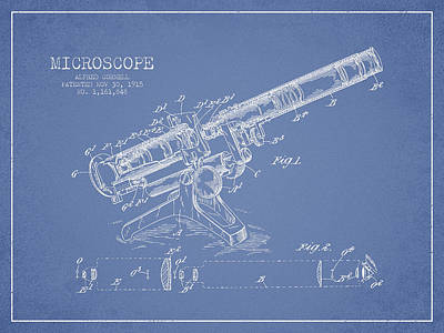 Microscope Patent Drawing From 1915 Art Print by Aged Pixel