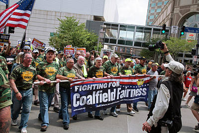 Miners Rally Against Coal Burning Limits Print by Jim West