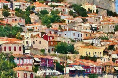Painting - Molyvos Town In Lesvos Island by George Atsametakis