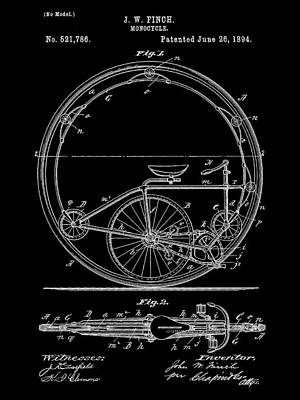 Triathlon Digital Art - Monocycle Patent 1894 - Black by Stephen Younts