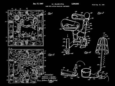 Ideals Digital Art - Mouse Trap Board Game Patent 1962 - Black by Stephen Younts