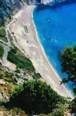 Painting - Myrtos Beach In Kefallonia Island by George Atsametakis