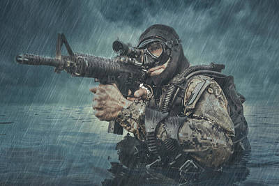 Photograph - Navy Seal Frogman With Complete Diving by Oleg Zabielin