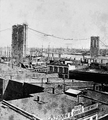 Suspension Bridge Painting - New York Brooklyn Bridge by Granger