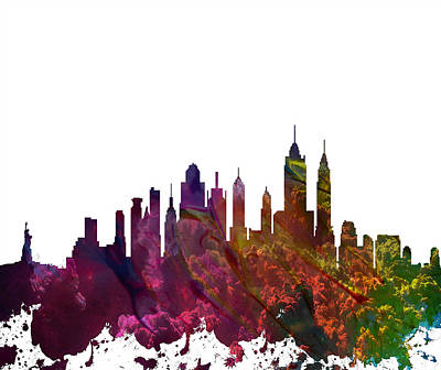 Skylines Drawings - New York City Skyline by Celestial Images