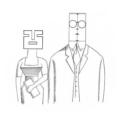 Professional Drawing - New Yorker May 5th, 1962 by Saul Steinberg