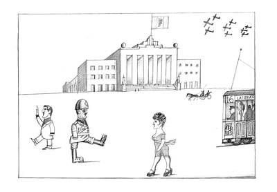 Take Over Drawing - New Yorker October 7th, 1974 by Saul Steinberg