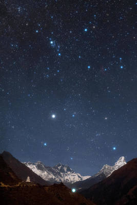 Night Sky Over The Himalayas Art Print