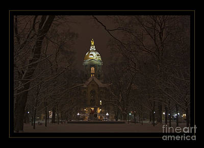 Notre Dame Golden Dome Snow Poster Art Print by John Stephens