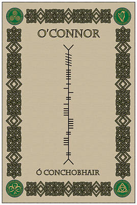 Art Print featuring the digital art O'connor Written In Ogham by Ireland Calling