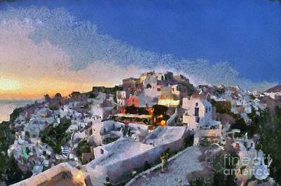 Painting - Oia Town During Sunset by George Atsametakis