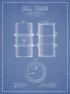 Drums Digital Art - Oil Drum Patent Drawing From 1905 by Aged Pixel