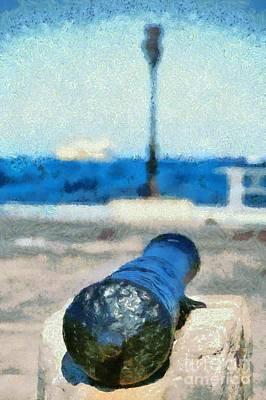 Greek Painting - Old Cannon In Aegina Port by George Atsametakis