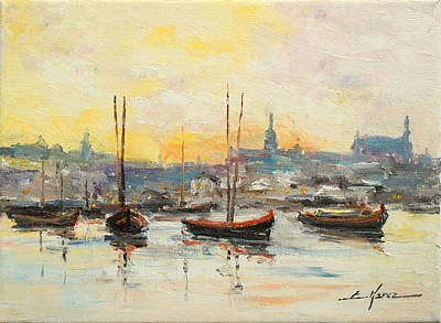 Painting - Old Warsaw - Wisla River by Luke Karcz