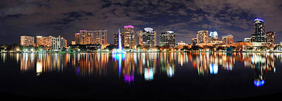 Photograph - Orlando Night Panorama by Songquan Deng