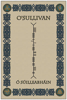 Print featuring the digital art O'sullivan Written In Ogham by Ireland Calling