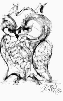 Drawing - Owl  by Jon Baldwin  Art