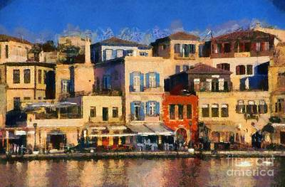 Lights Painting - Painting Of The Old Port Of Chania by George Atsametakis