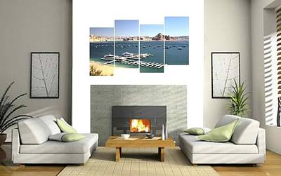 Photograph - 4-panel - Lake Powell Marina by Gordon Elwell