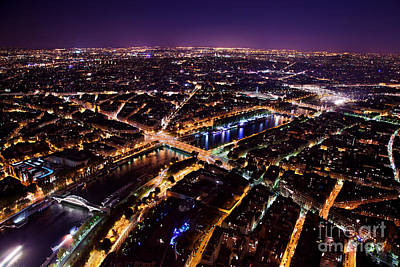 Light Photograph - Paris Panorama France At Night by Michal Bednarek