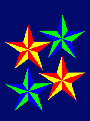 Digital Art - 4 Patch Work Christmas Stars Wish You A Merry Christmas by Asbjorn Lonvig