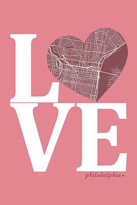 Philadelphia Digital Art - Philadelphia Street Map Love - Philadelphia Pennsylvania Texas R by Jurq Studio