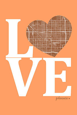 Phoenix Digital Art - Phoenix Street Map Love - Phoenix Arizona Road Map In A Heart by Jurq Studio
