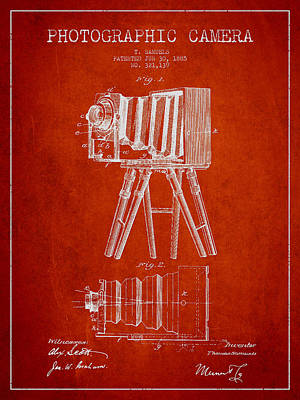 Video Digital Art - Photographic Camera Patent Drawing From 1885 by Aged Pixel