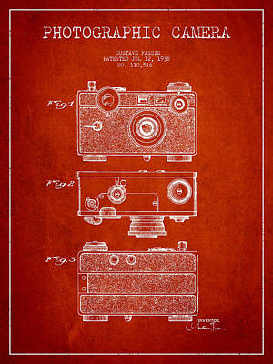 Video Digital Art - Photographic Camera Patent Drawing From 1938 by Aged Pixel