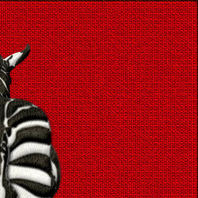 Digital Art - 4-piece Set Zebra Rear View On Red 2-of-4 by Serge Averbukh