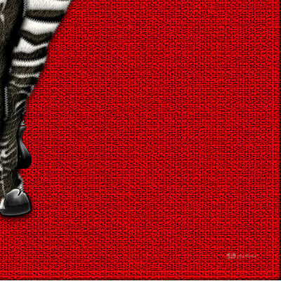 Digital Art - 4-piece Set Zebra Rear View On Red 4-of-3 by Serge Averbukh