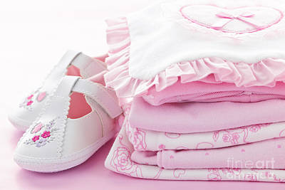 Kid Photograph - Pink Baby Clothes For Infant Girl by Elena Elisseeva