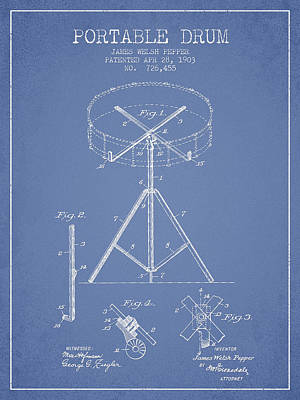 Drummer Drawing - Portable Drum Patent Drawing From 1903 - Light Blue by Aged Pixel