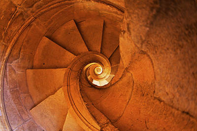 Portugal, Tomar, Spiral Stone Staircase Art Print by Terry Eggers