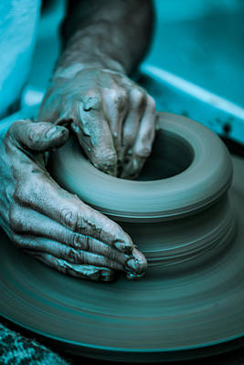 Handmade Hand Made Ceramic Pottery Pot Pots Photograph - Pottery Wheel by Modern Art Prints