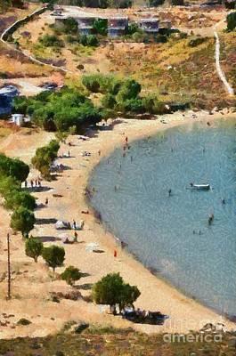 Sunbathing Painting - Psili Ammos Beach In Serifos Island by George Atsametakis