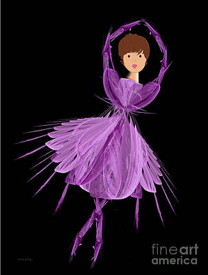 4 Purple Ballerina Print by Andee Design