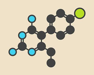 Pyrimethamine Malaria Drug Molecule Art Print