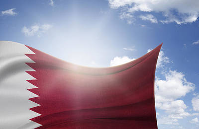 Qatar Flag Print by Les Cunliffe